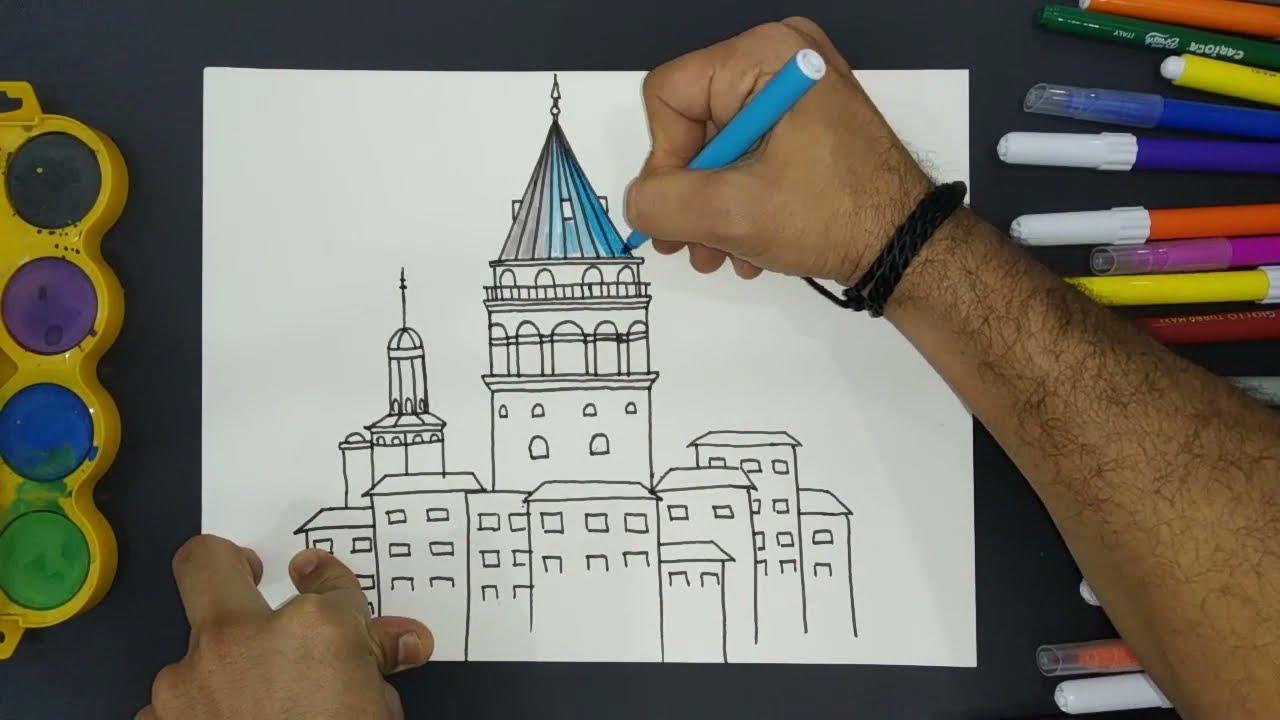 رسم برج الفتاة اسطنبول  kız kulesi çizimi