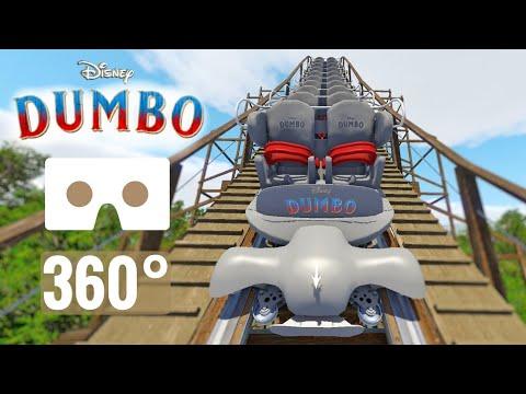 [360 Video] Disney Dumbo Rollercoaster POV Ride VR Box