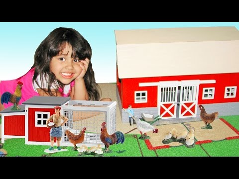 Schleich Chicken Coop Learn Farm Animals Names and Sounds Educational for Kids