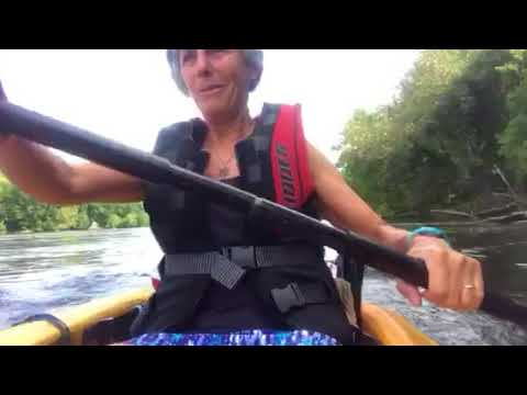 Kayaking upstream on the catawba River against rapids