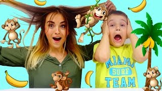 КОНКУРС+Челлендж ВЕСЁЛЫЕ ОБЕЗЬЯНКИ Забавная детская игра Funny monkey challenge