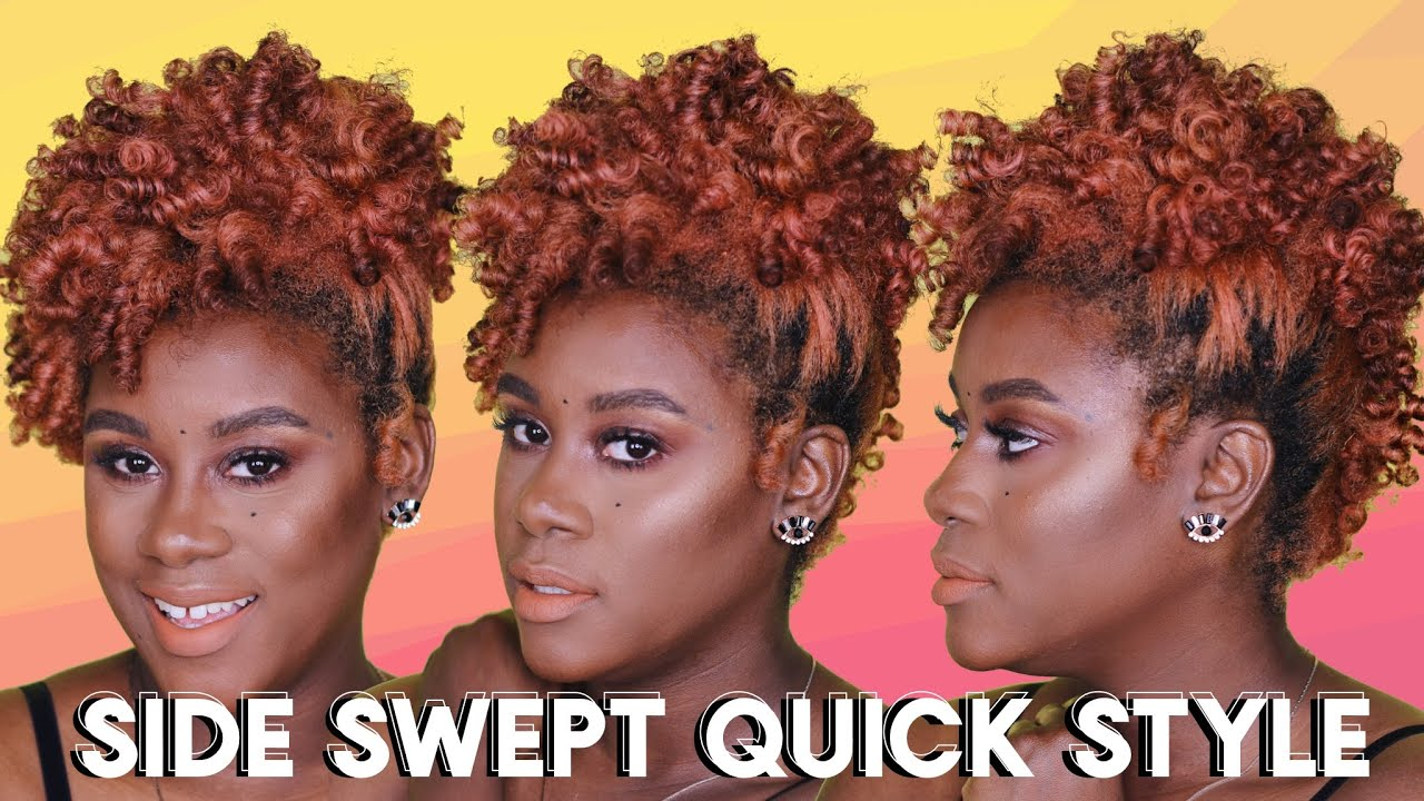 Quick Side Swept Hairstyle Tutorial for Short Natural Hair - YouTube