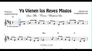 Ya vienen los Reyes Magos Sheet Music for Alto Sax Baritone Sax and Horn Christmas Carol