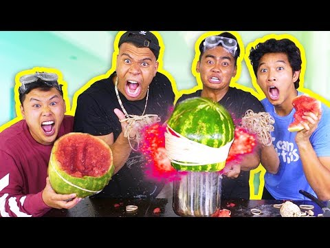 Thumbnail: EXPLODING WATERMELONS CHALLENGE! (ft. Wolfieraps, David Parody, Marlin)