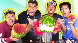 EXPLODING WATERMELONS CHALLENGE! (ft. Wolfieraps, David Parody, Marlin)