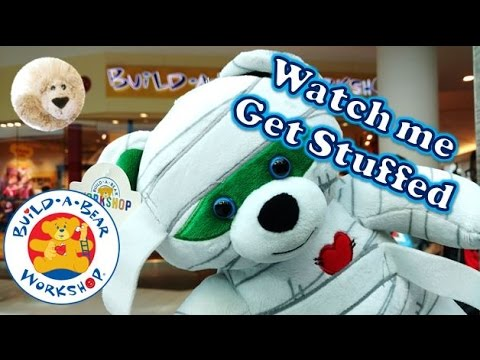 STUFFING Mummy In Slow Motion BUILDABEAR HALLOWEEN TEDDY 2016 Build A Bear Workshop Scary Plush