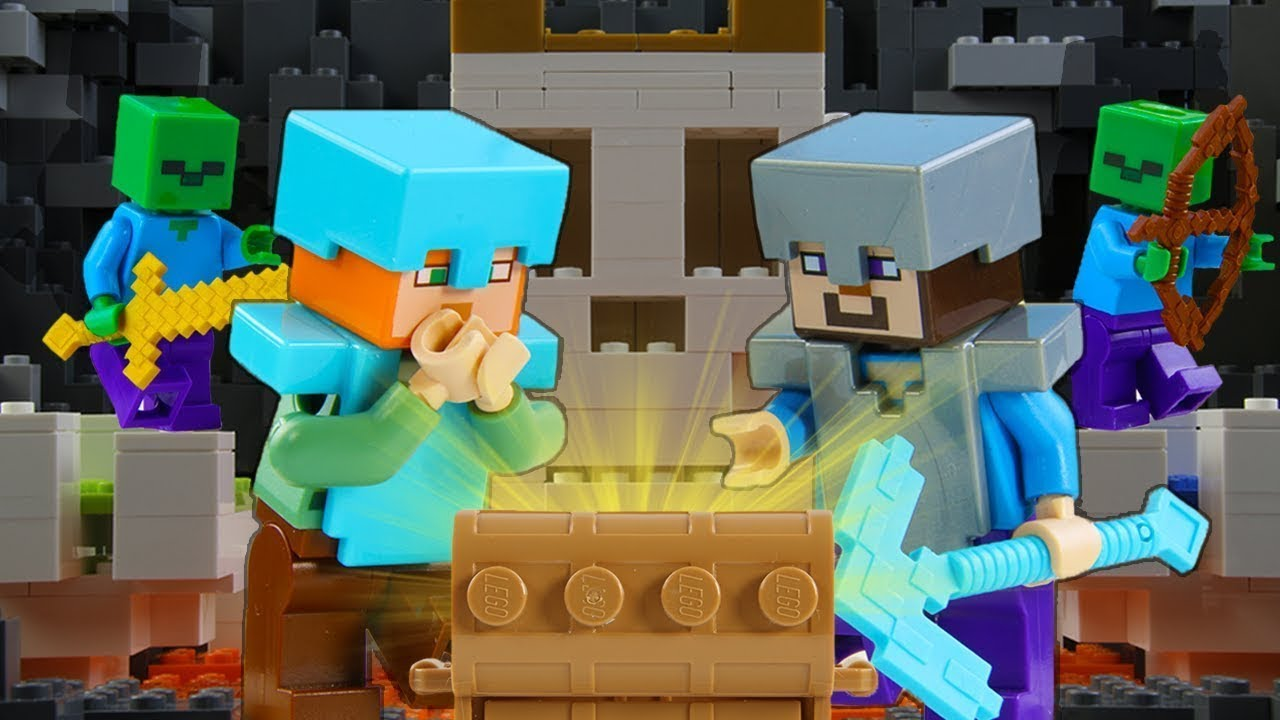 LEGO Minecraft Skull Arena Treasure Hunt STOP MOTION LEGO Minecraft: Zombie Cave | Billy Bricks