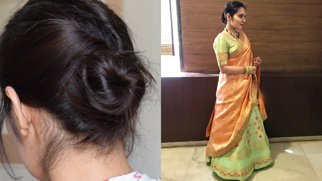 Easy Hairstyle For Lehenga Indian Wedding Hairstyles Hairstyle For Saree Youtube