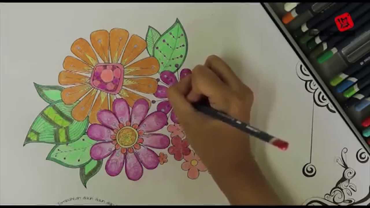 Mewarnai Daun Daun Dan Bunga Youtube