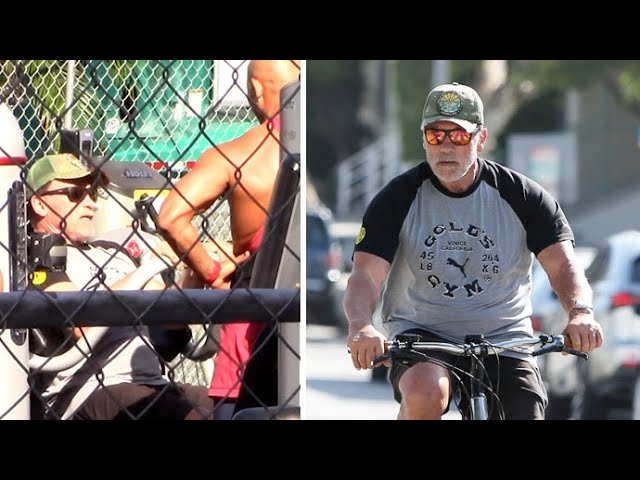 Arnold Schwarzenegger Puts On An Iron Pumping Display At Gold's Gym