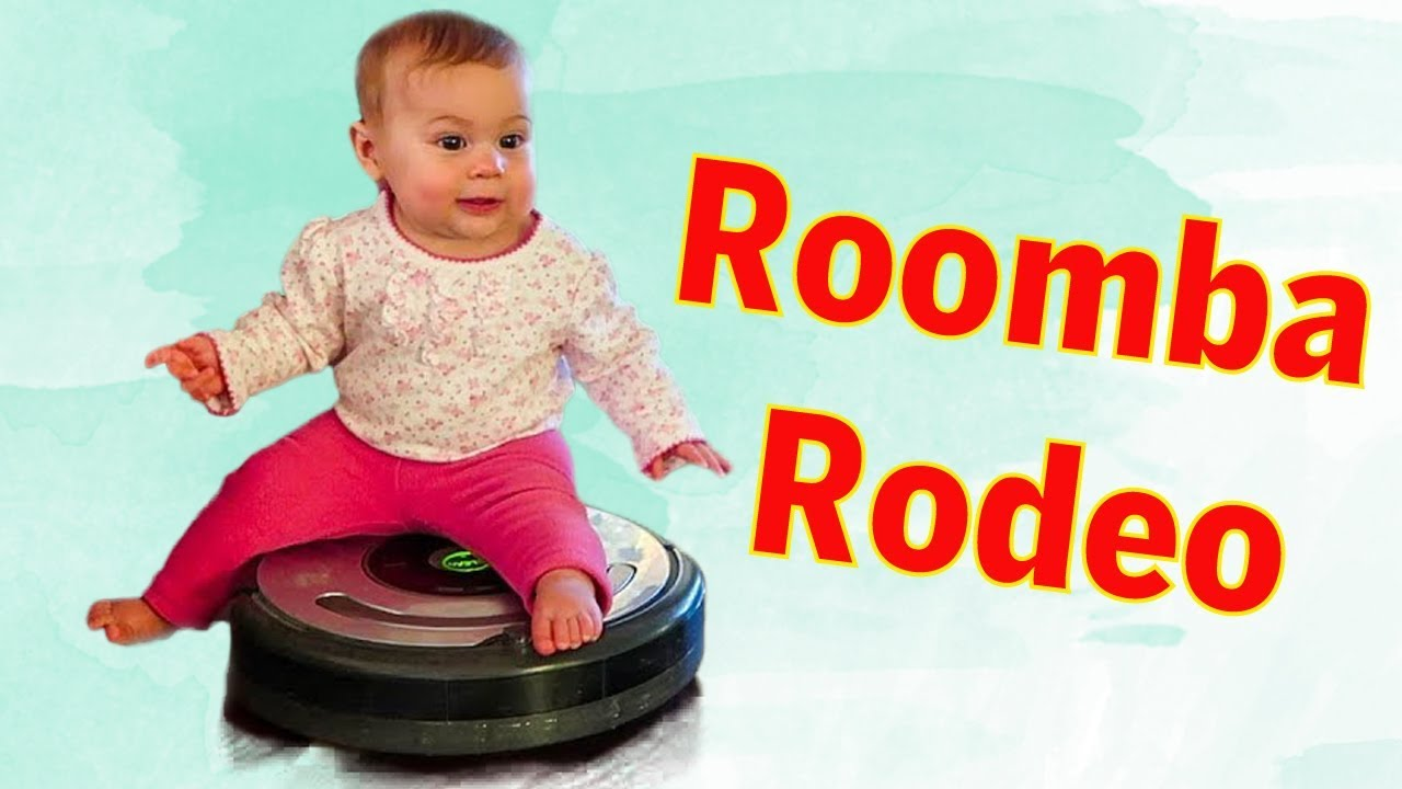 Cute Babies Riding Roomba Rodeo At The First Time || Best Babies Video Compilation