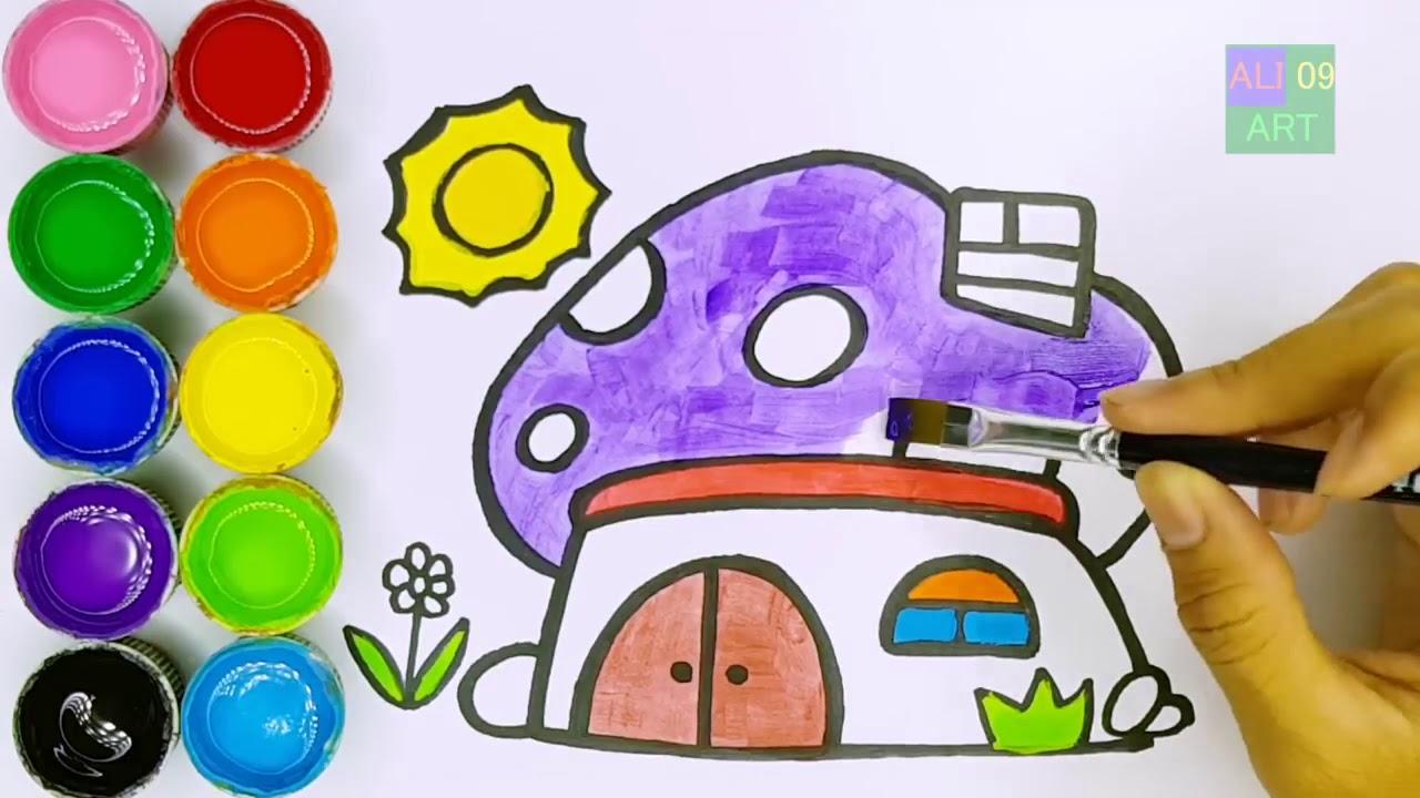Cara Menggambar Dan Mewarnai Rumah Jamur Warna Warni Kid TV