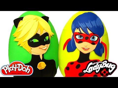 Huevos Sorpresas Gigantes de Ladybug y Cat Noir en Español de Plastilina Play Doh