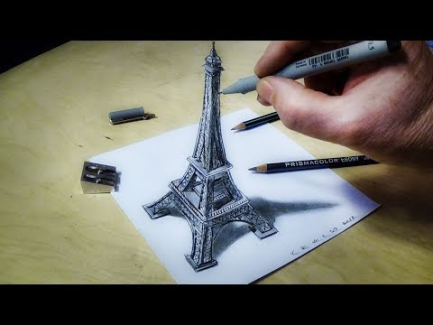 ►-eiffel-tower-illusion---how-to-draw-eiffel-tower---3d-trick-art