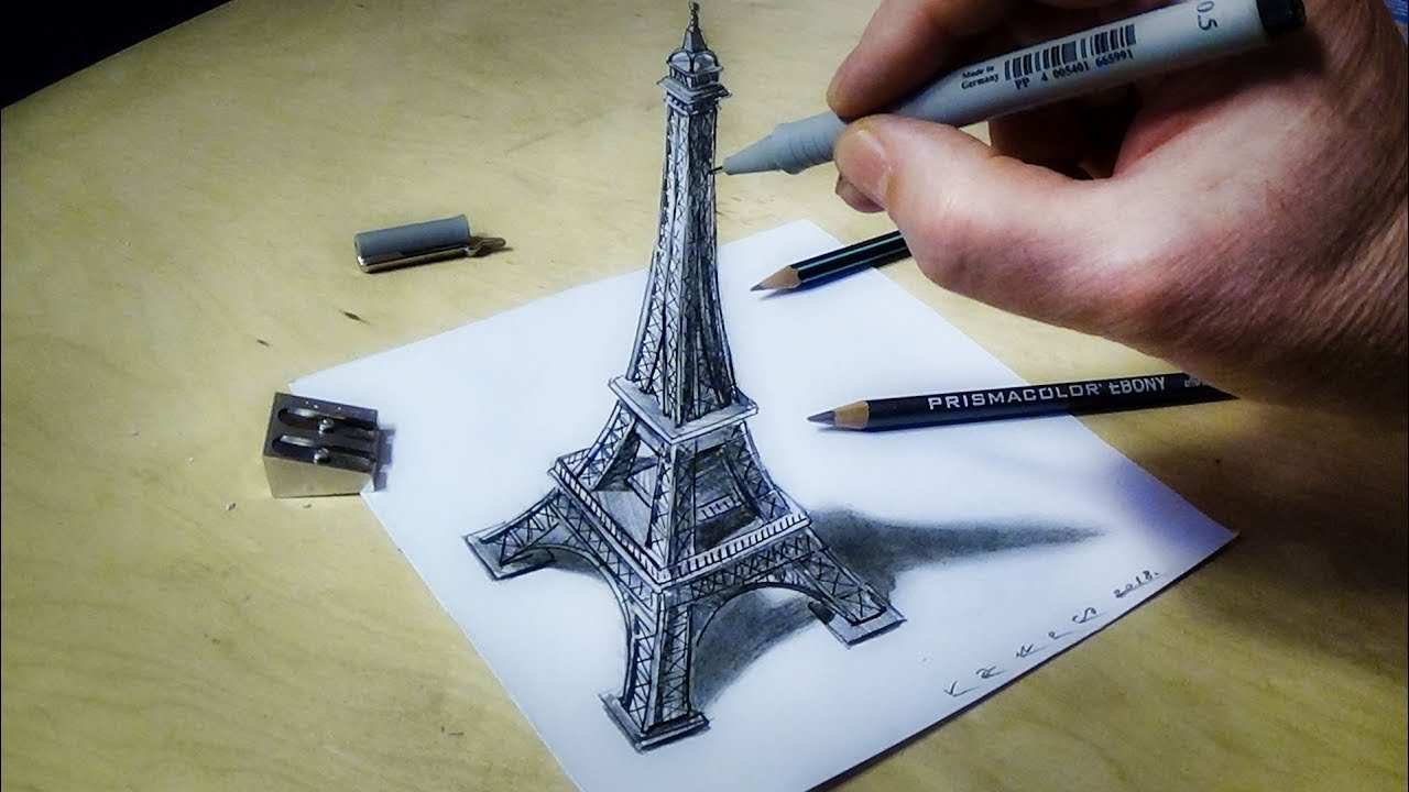 Eiffel Tower Illusion How To Draw Eiffel Tower 3d Trick Art