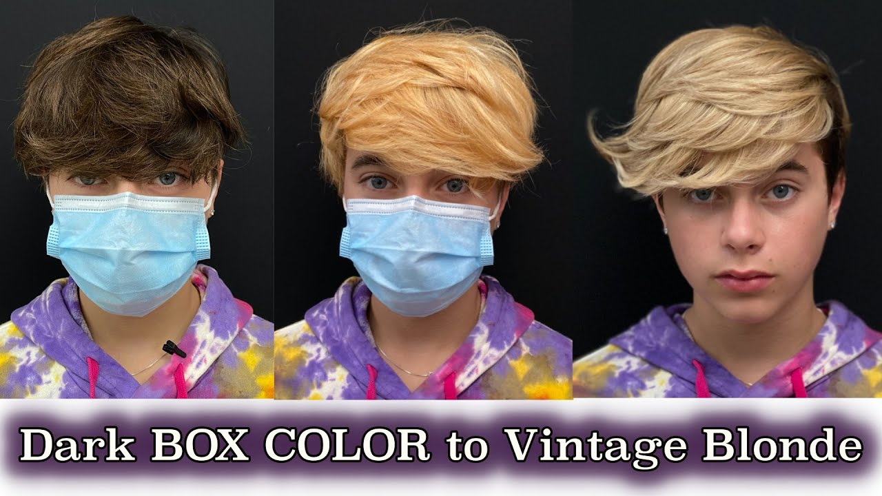 DARK BOX COLOR to VINTAGE BLONDE in one session