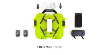 Nanuk 905 Waterproof Hard Drone Case with Custom Foam Insert for DJI Spark Lime