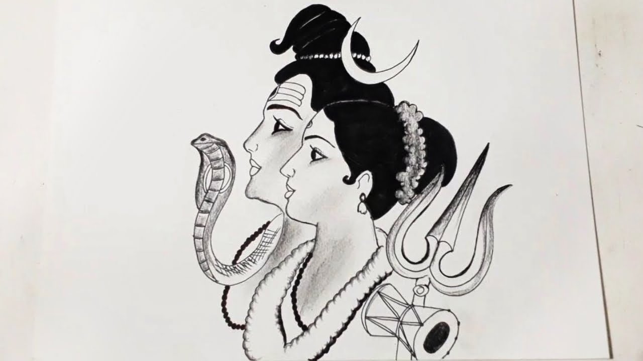 Pen Pencil Drawing Of God Bholenath Parvati Lord Shiva