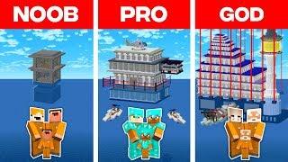 Minecraft NOOB vs. PRO vs. GOD: FAMILY MODERN PRISON ON WATER CHALLENGE in Minecraft! (Animation)