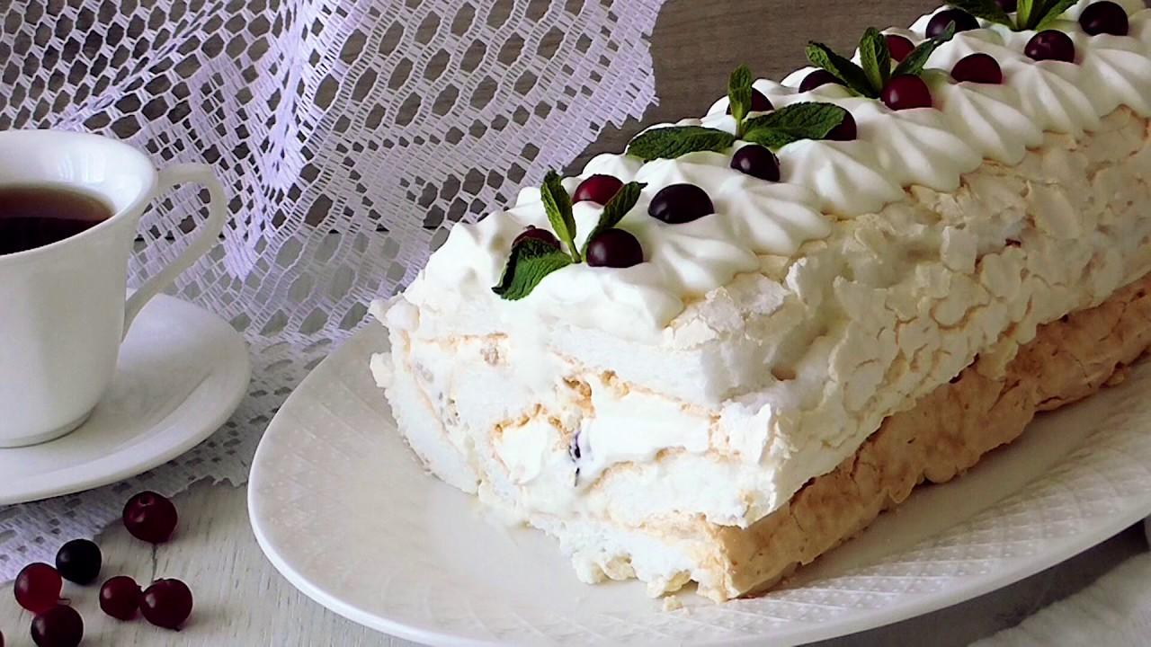 Меренговый Рулет с Нежным кремом!***Meringue Roulade with sweet cream!