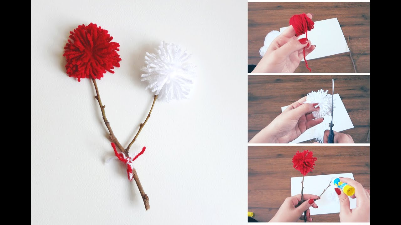 DIY POM POM Flower Composition | Super Easy DIY With ...