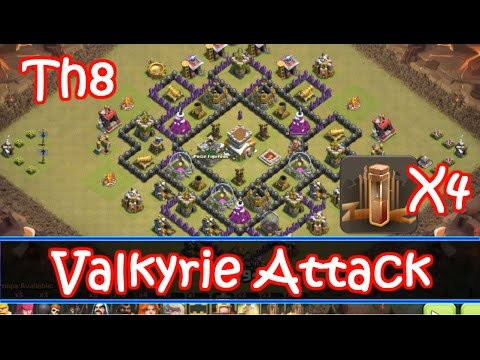 Th8 Valkyrie Strategy With 4 Earthquake Spells - GoVaHo - Clash Of Clans
