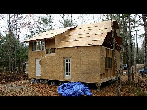 How To Build Family Wood Frame 24 X 30 1.5 Story House In Forest