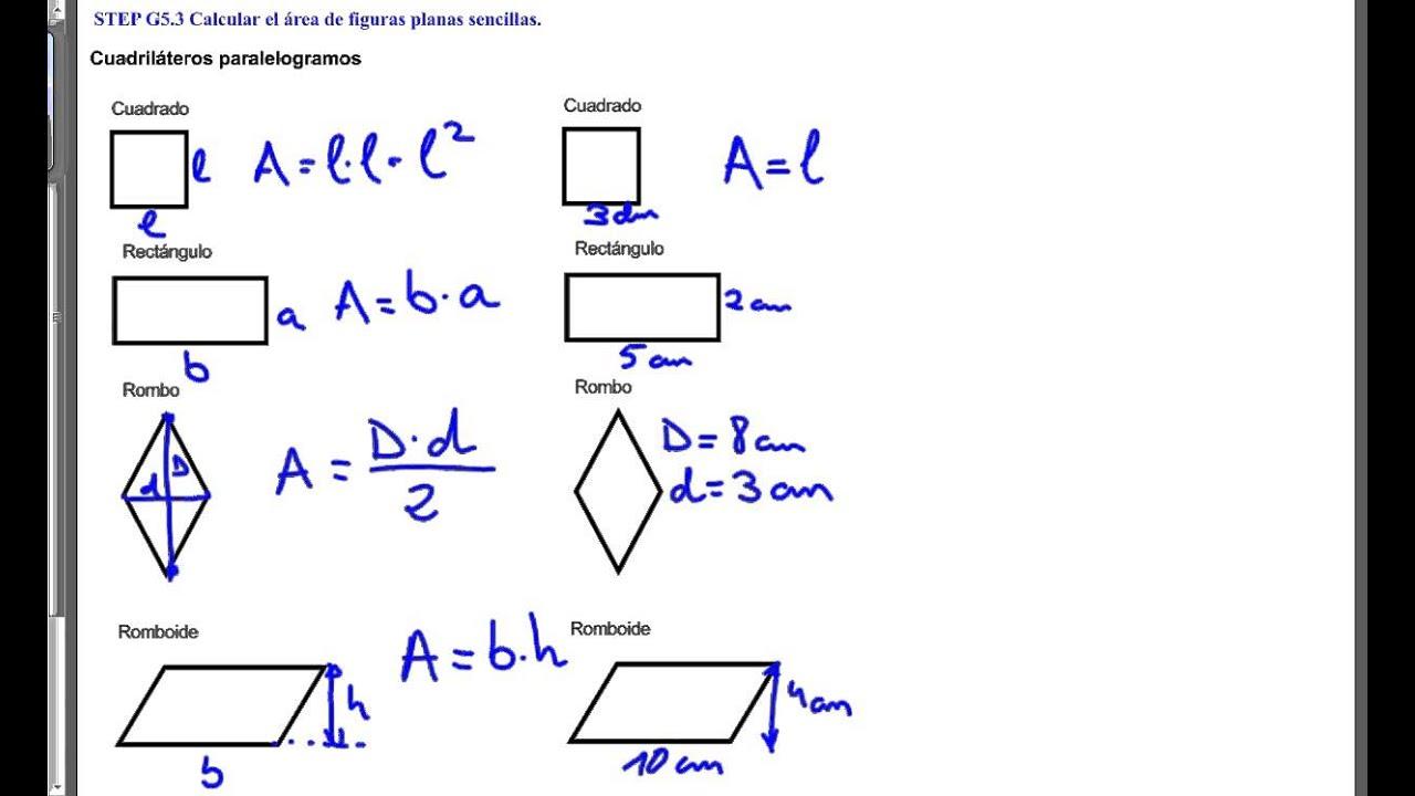 STEP G5.3 Calcular el área de figuras planas sencillas
