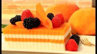How To Make Fruit and Mango Coconut Jelly Cake | Agar Agar Recipe 芒果椰子奶冻的做法
