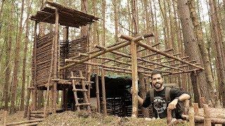 Bushcraft Camp Update 15 - Wood Frame Roof Build (Super Shelter)