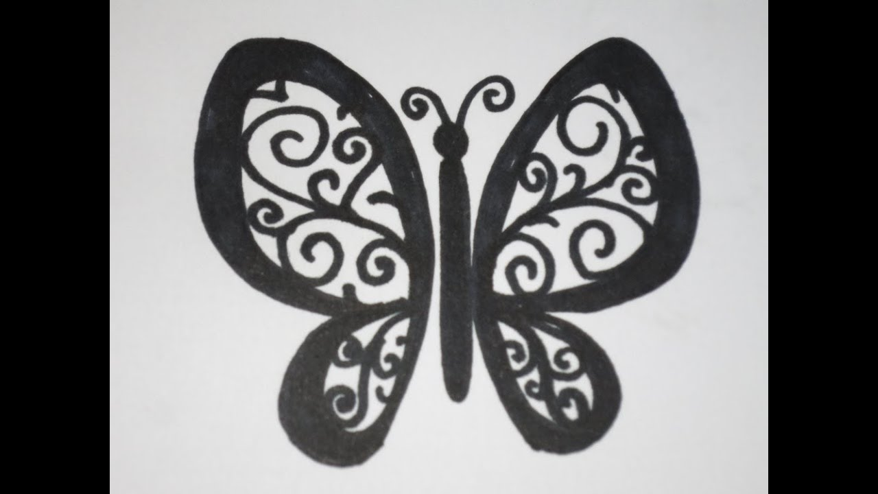 How To Draw A Butterfly Easy With Swirls And Curls Youtube