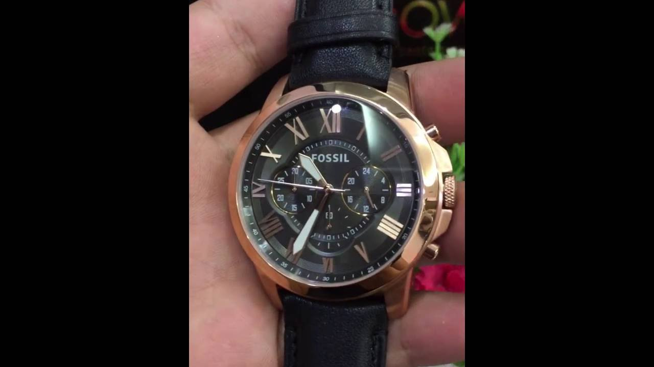 Fossil Mens Fs5085 Grant Chronograph Stainless Steel Watch With Me3138 Sport Automatic Skeleton Dial Black Leather Band