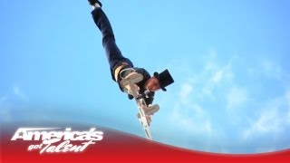 Slackwire Sam Does a Hand Stand Over 80 Feet in the Air - America's Got Talent