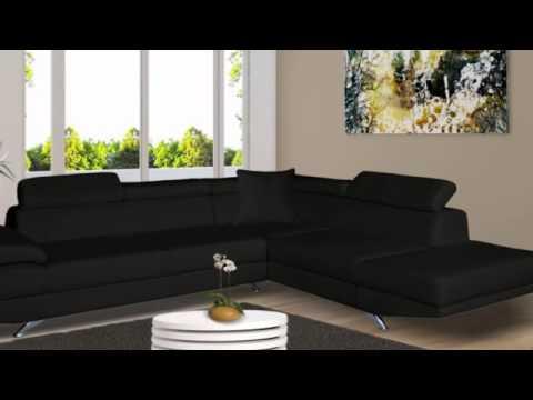 Canapé d\'angle XL en simili ROMAIN - YouTube