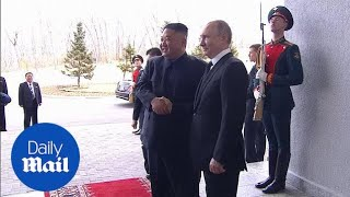 Vladimir Putin welcomes Kim Jong Un to first summit in Russia