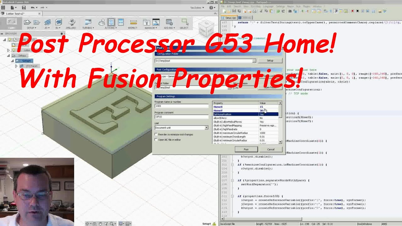 Fusion 360 Post Processor G53 Home with Properties