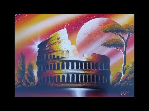 Spray paint art – Colosseum – made by street artist *time lapse*