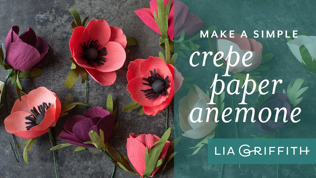 how to make a simple paper anemone flower crepe