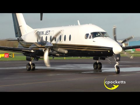 Rare Visitor: Beech 1900D F-HAPE TwinJet - Landing/close up/Take off - Gloucestershire Airport