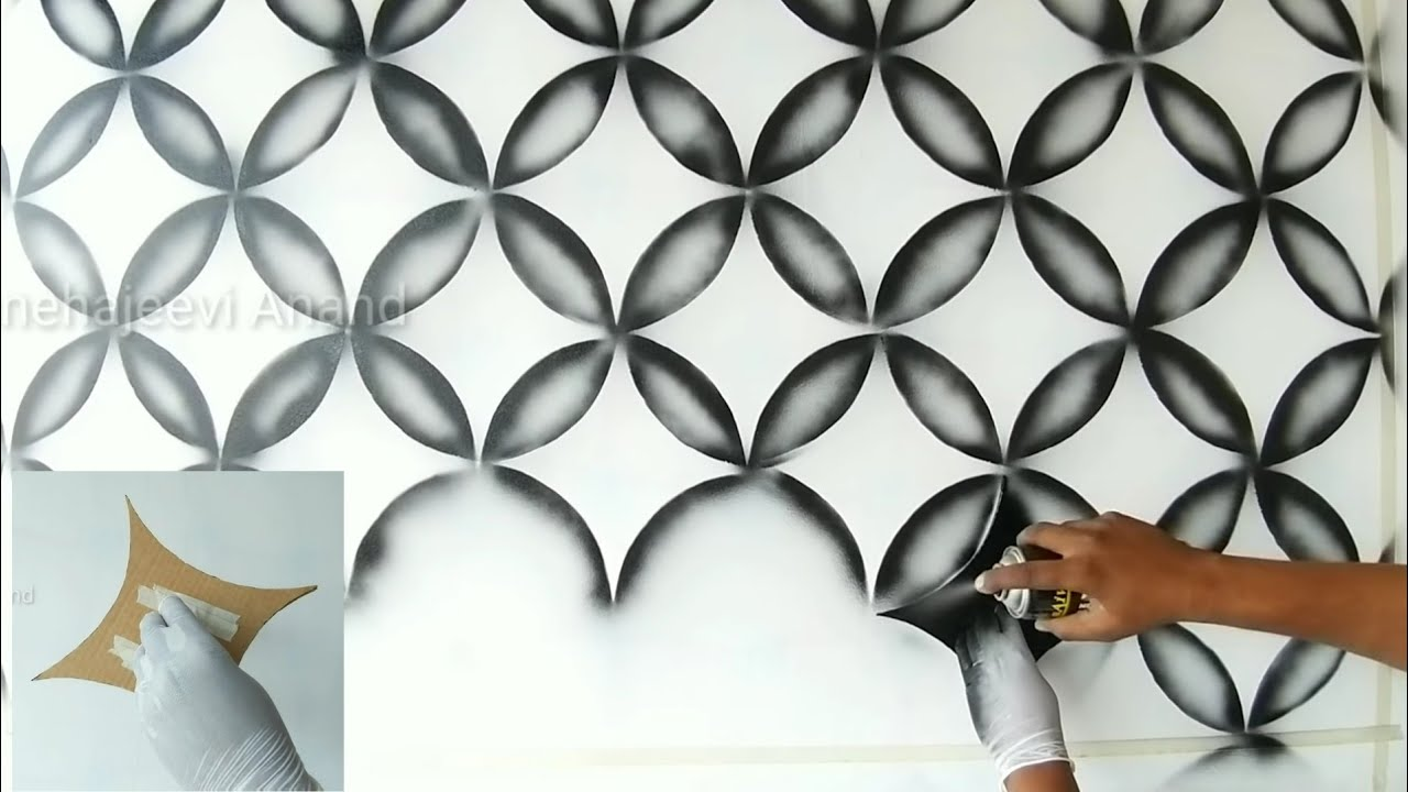 Wall Painting 3d Design Using Black Spray