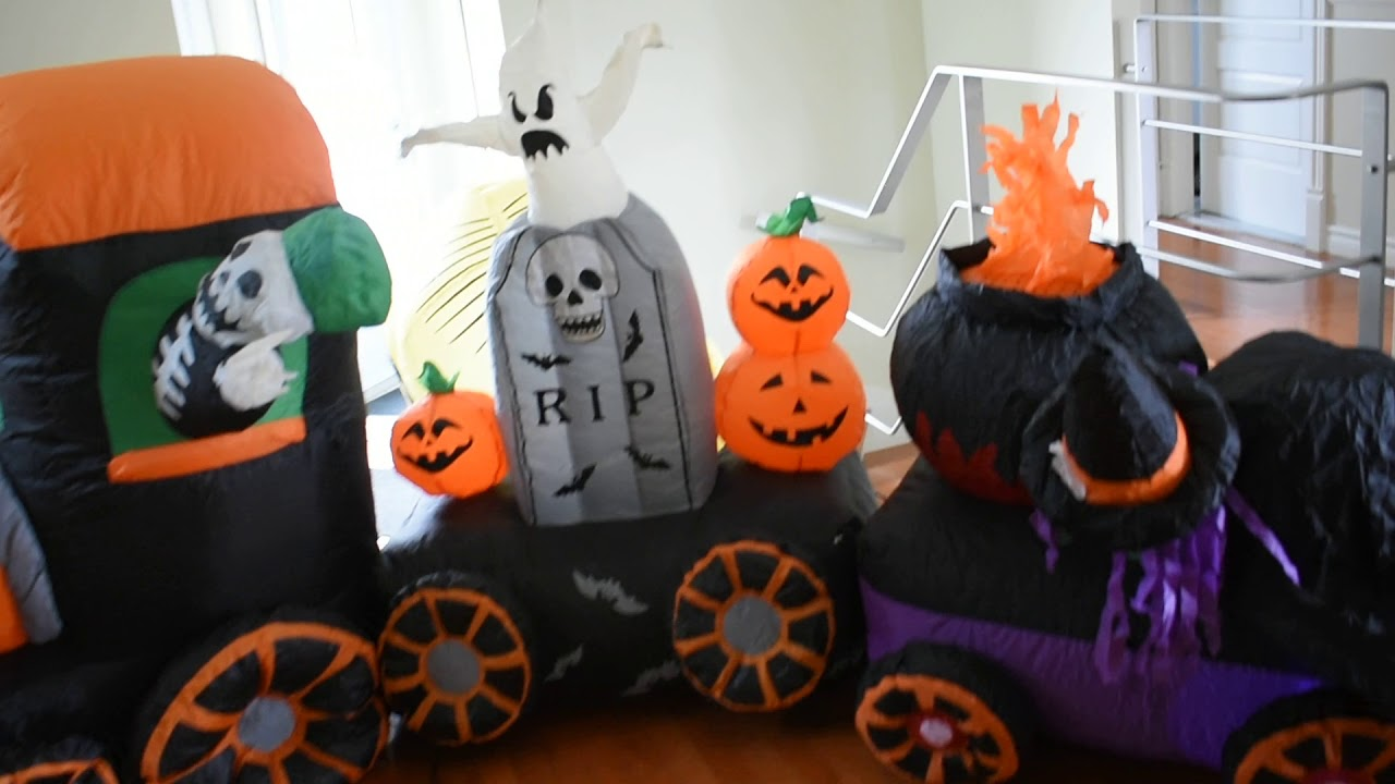 Halloween Inflatable Train 10 Feet 3 Section Skeleton, Witch Cauldron, Rip,  And Minion Dave
