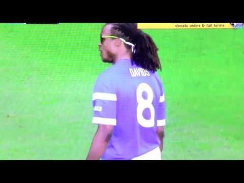 Soccer Aid 2014 - Jonathan Wilkes throws Edgar Davids' shin pads away