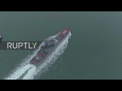 Russia: Drone captures Black Sea Fleet's Azov landing ship sailing under Kerch Strait Bridge