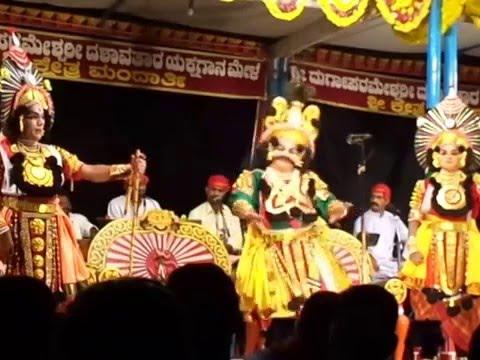 Yakshagana Mandarthi mela....Kusha lava Cheluvaranu nodalu, Naradi rama