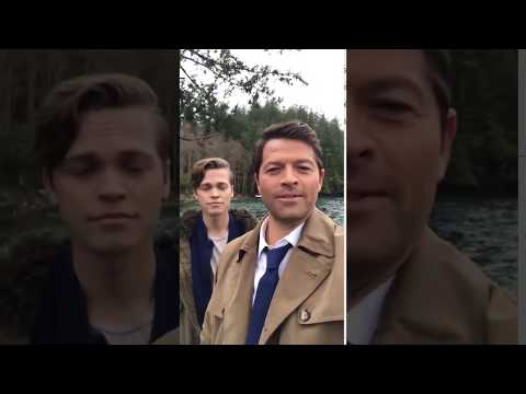 Supernatural  Misha Collins and Alex Calvert on set!