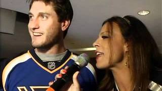 David Freese interviewed by Angella Sharpe at the Blues game