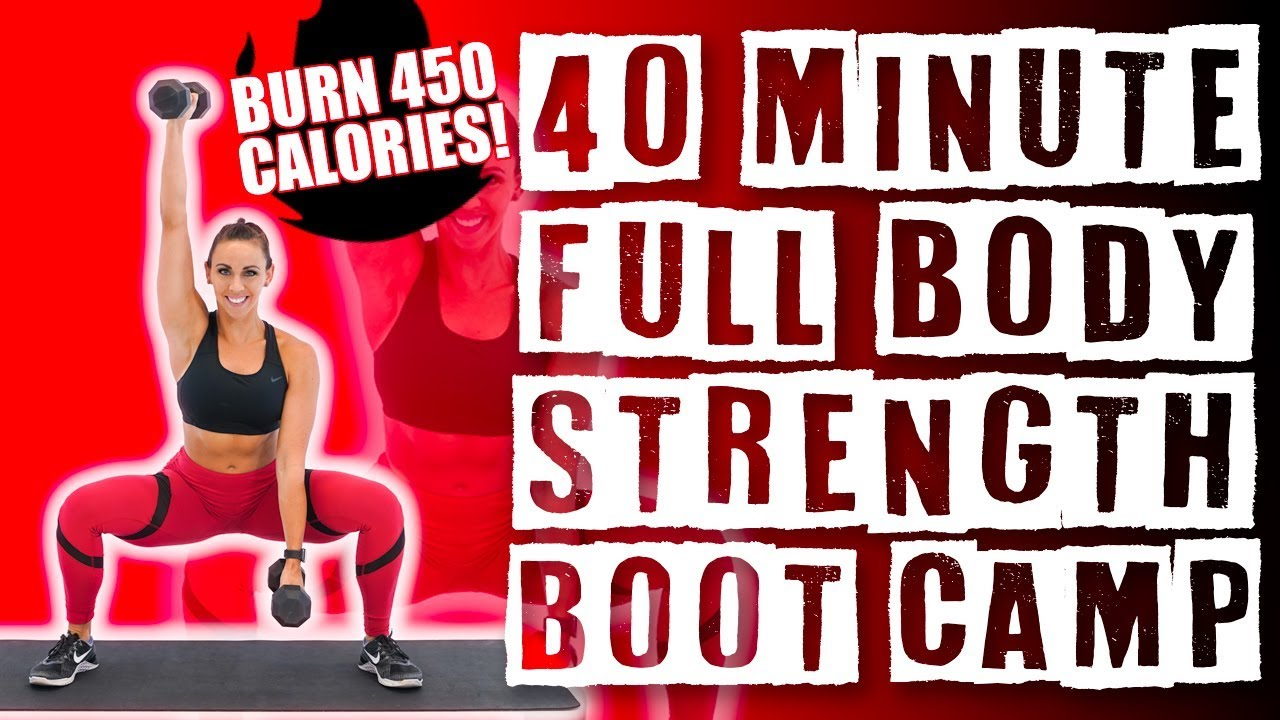 40 Minute Full Body Strength Boot Camp Workout Burn 450 Calories Superset Style Circuit Bootcamp Ideas