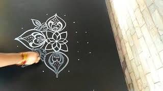 Silmple and beautiful lotus kolam..muggu..rangoli...deepam muggu..7 to 3 dots