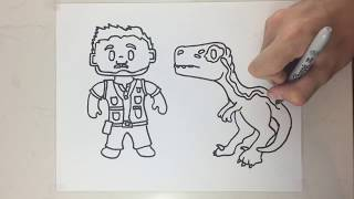 How to draw blue and Owen simple (Jurassic world)