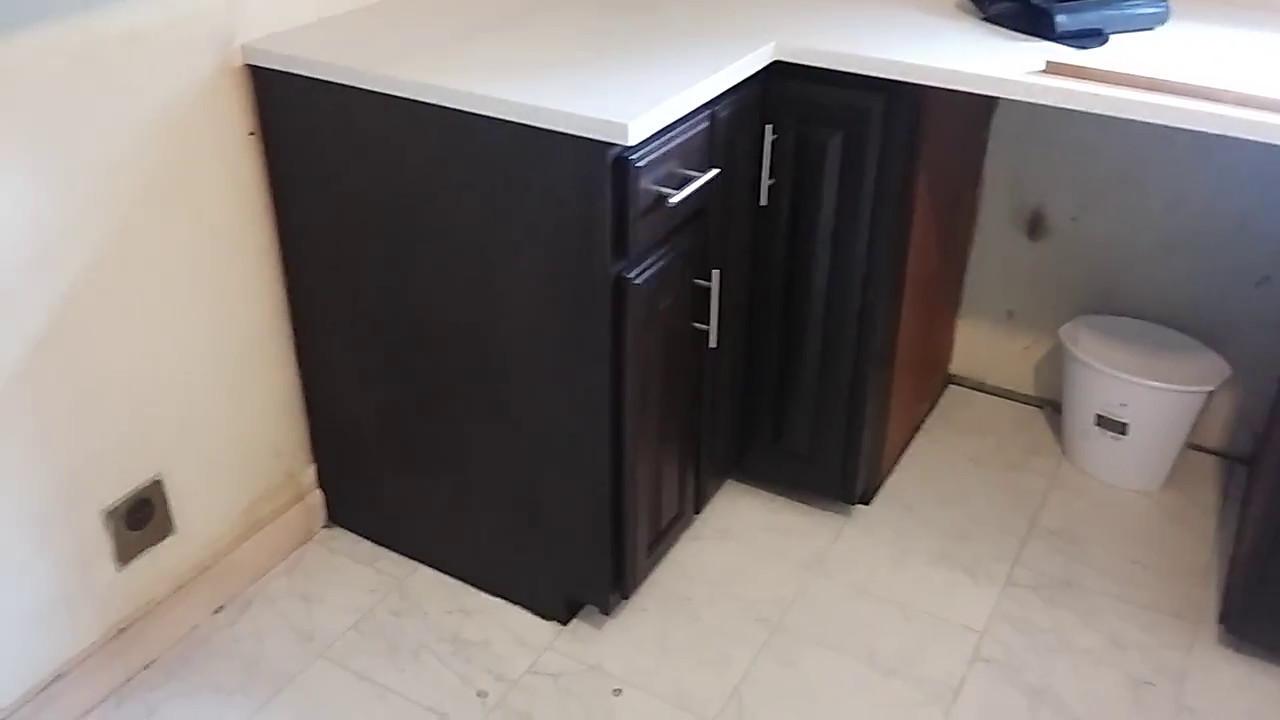 Java Gell Stain on Oak Kitchen Cabinets - YouTube